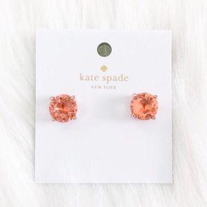 Kate Spade Peach Crystal Rose Gold Stud Earrings